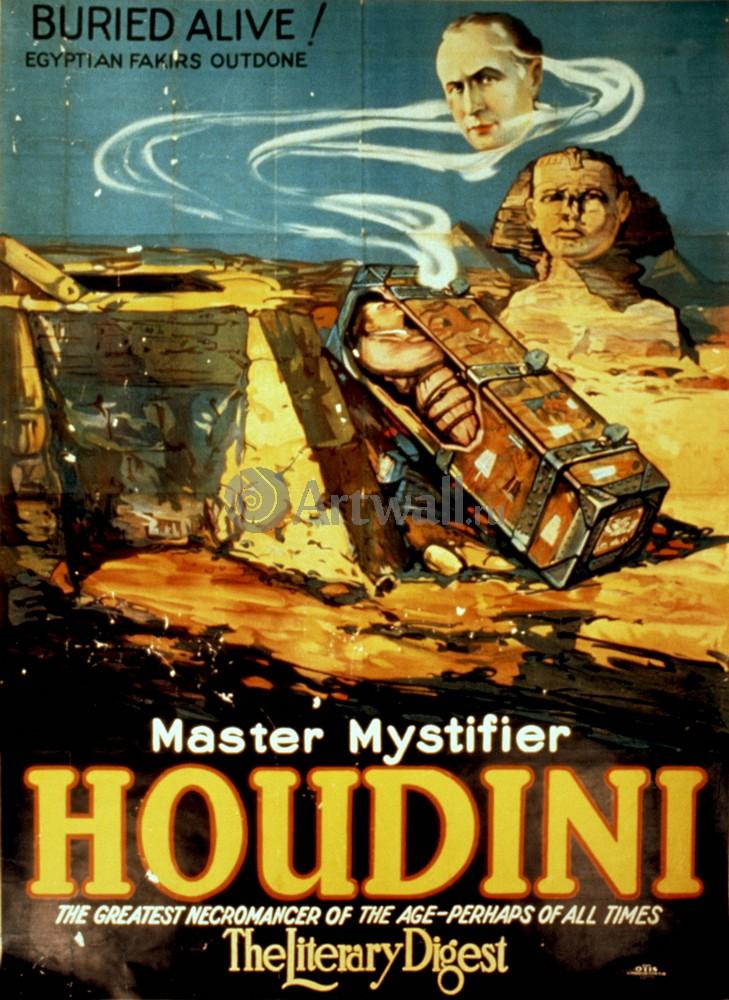 Плакат Плакат 20 века Master Mystifier Houdini, 20x27 см, на бумагеЦирк<br>Постер на холсте или бумаге. Любого нужного вам размера. В раме или без. Подвес в комплекте. Трехслойная надежная упаковка. Доставим в любую точку России. Вам осталось только повесить картину на стену!<br>