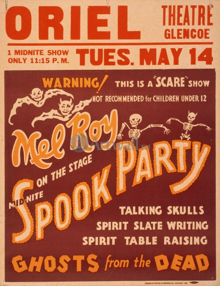 Плакат Плакат 20 века Mid-Nite Spook Party, Ghosts from the Dead, Scare Show, 20x26 см, на бумагеЦирк<br>Постер на холсте или бумаге. Любого нужного вам размера. В раме или без. Подвес в комплекте. Трехслойная надежная упаковка. Доставим в любую точку России. Вам осталось только повесить картину на стену!<br>