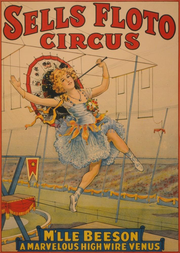 Плакат Плакат 20 века Sells Floto Circus, Mlle Beeson A Marvelous High Wire Venus, 20x28 см, на бумагеЦирк<br>Постер на холсте или бумаге. Любого нужного вам размера. В раме или без. Подвес в комплекте. Трехслойная надежная упаковка. Доставим в любую точку России. Вам осталось только повесить картину на стену!<br>