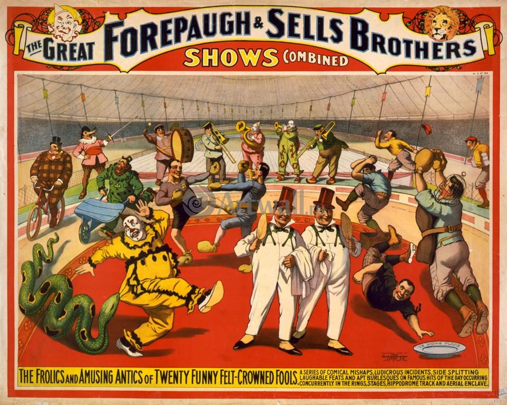 Плакат Плакат 20 века The Adam Forepaugh &amp; Sells Brothers, Americas Greatest Shows Consolidated (3), 25x20 см, на бумагеЦирк<br>Постер на холсте или бумаге. Любого нужного вам размера. В раме или без. Подвес в комплекте. Трехслойная надежная упаковка. Доставим в любую точку России. Вам осталось только повесить картину на стену!<br>