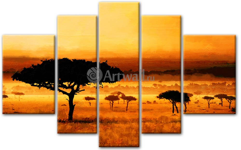 Модульная картина «Африканские сумерки»Африканские мотивы<br>Модульная картина на натуральном холсте и деревянном подрамнике. Подвес в комплекте. Трехслойная надежная упаковка. Доставим в любую точку России. Вам осталось только повесить картину на стену!<br>