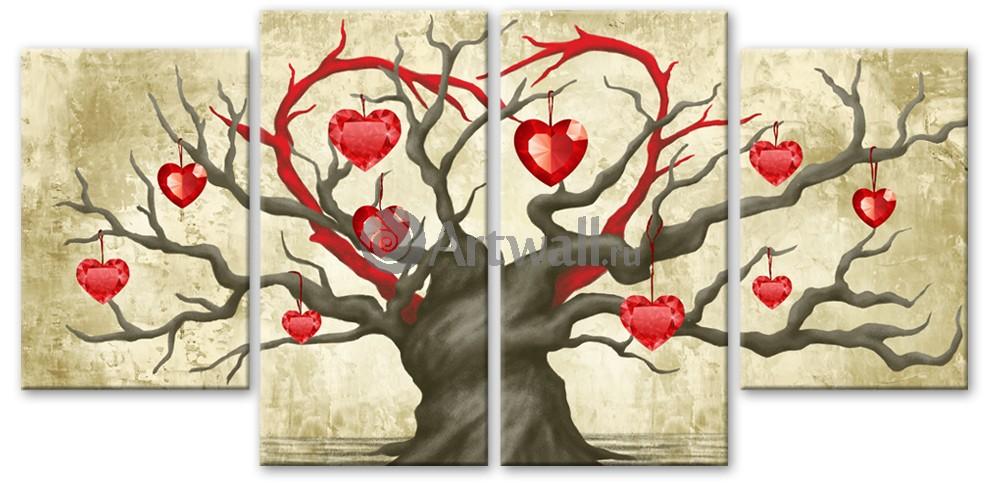 Модульная картина «Дерево любви»Абстракция<br>Модульная картина на натуральном холсте и деревянном подрамнике. Подвес в комплекте. Трехслойная надежная упаковка. Доставим в любую точку России. Вам осталось только повесить картину на стену!<br>