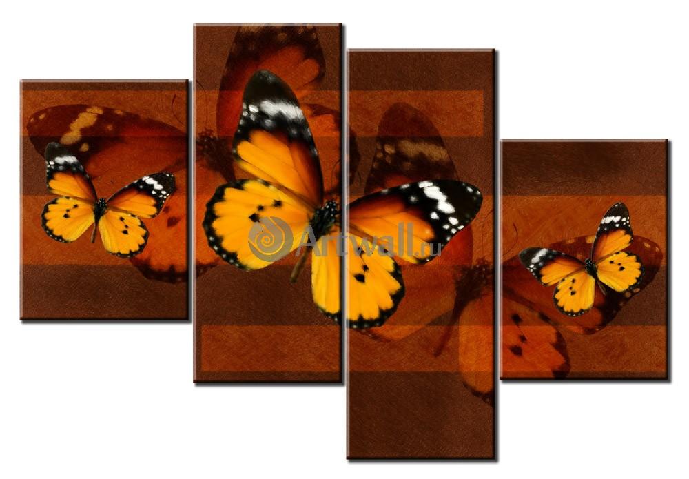 Модульная картина «Пять бабочек»Природа<br>Модульная картина на натуральном холсте и деревянном подрамнике. Подвес в комплекте. Трехслойная надежная упаковка. Доставим в любую точку России. Вам осталось только повесить картину на стену!<br>
