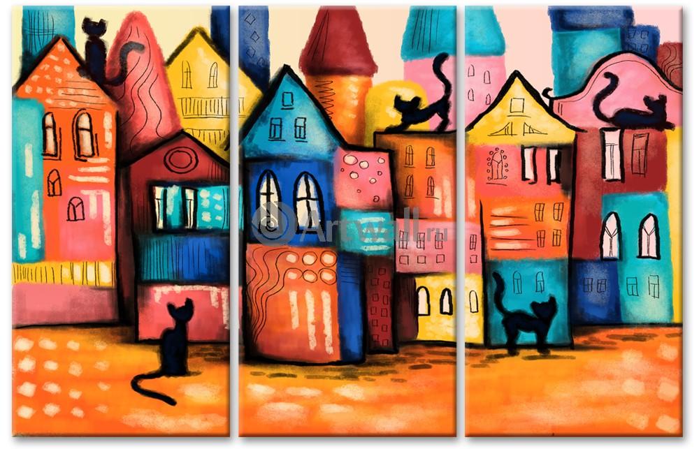 Модульная картина «Городские коты», 78x50 см, модульная картинаГорода<br>Модульная картина на натуральном холсте и деревянном подрамнике. Подвес в комплекте. Трехслойная надежная упаковка. Доставим в любую точку России. Вам осталось только повесить картину на стену!<br>