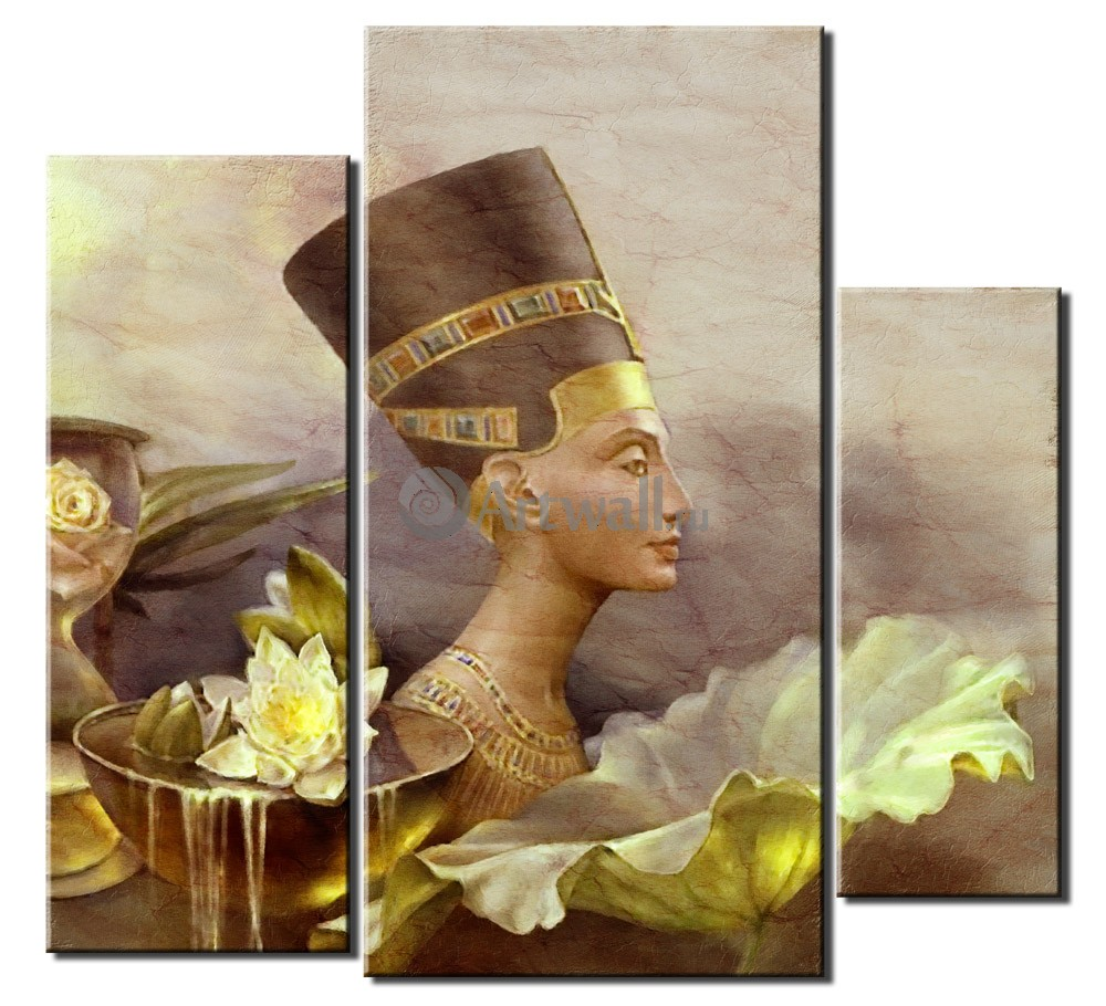 Модульная картина «Нефертити»Люди<br>Модульная картина на натуральном холсте и деревянном подрамнике. Подвес в комплекте. Трехслойная надежная упаковка. Доставим в любую точку России. Вам осталось только повесить картину на стену!<br>