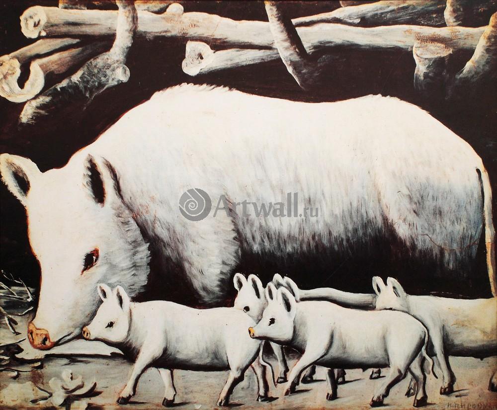 Пиросмани Нико, картина Белая свинья с поросятамиПиросмани Нико<br>Репродукция на холсте или бумаге. Любого нужного вам размера. В раме или без. Подвес в комплекте. Трехслойная надежная упаковка. Доставим в любую точку России. Вам осталось только повесить картину на стену!<br>