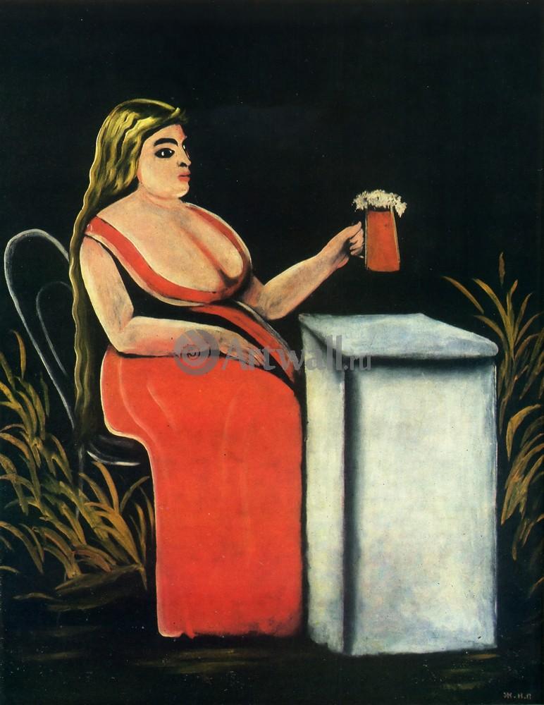 Пиросмани Нико, картина Женщина с кружкой пиваПиросмани Нико<br>Репродукция на холсте или бумаге. Любого нужного вам размера. В раме или без. Подвес в комплекте. Трехслойная надежная упаковка. Доставим в любую точку России. Вам осталось только повесить картину на стену!<br>