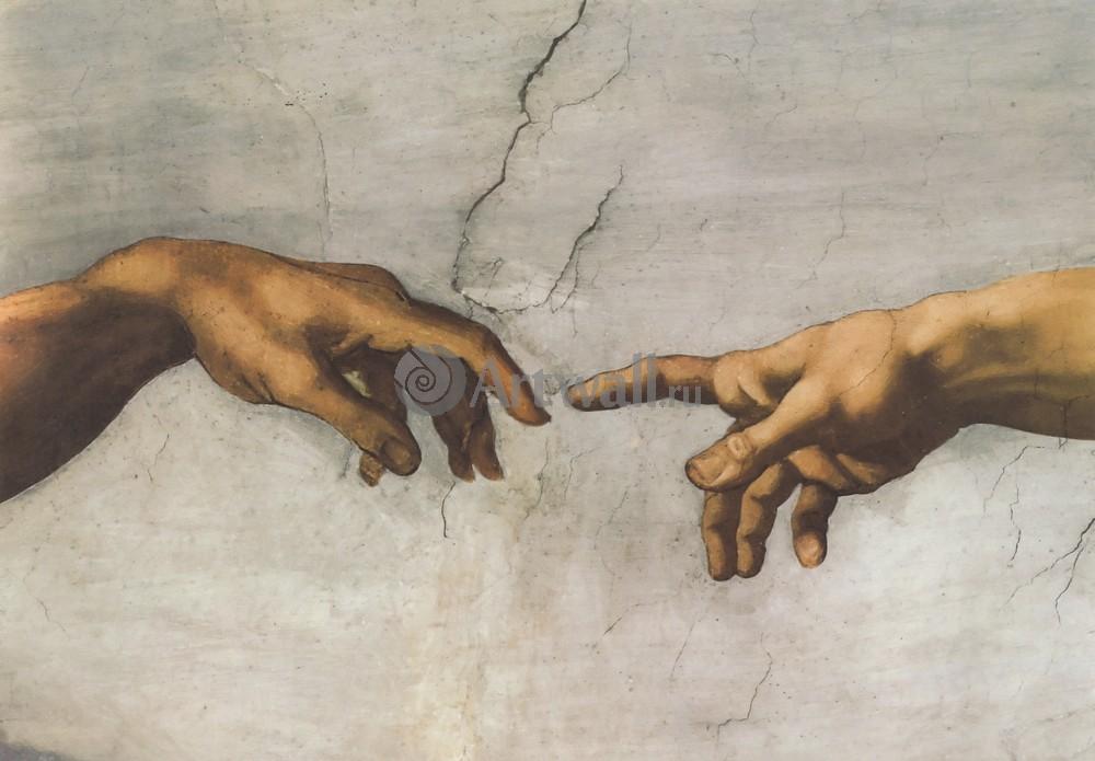 Микеланджело Буонарроти, картина Сотворение Адама, детальМикеланджело Буонарроти<br>Репродукция на холсте или бумаге. Любого нужного вам размера. В раме или без. Подвес в комплекте. Трехслойная надежная упаковка. Доставим в любую точку России. Вам осталось только повесить картину на стену!<br>