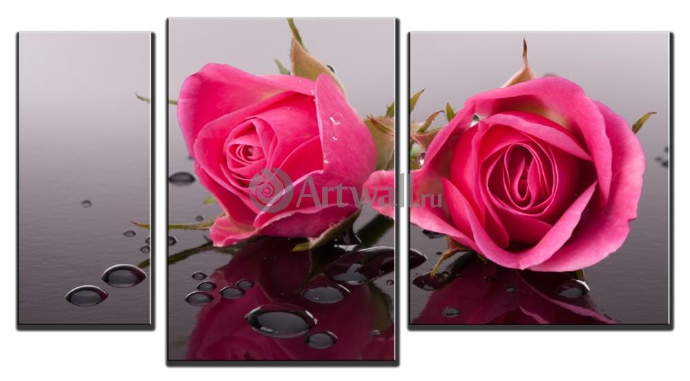 Модульная картина «Нежные розы»Цветы<br>Модульная картина на натуральном холсте и деревянном подрамнике. Подвес в комплекте. Трехслойная надежная упаковка. Доставим в любую точку России. Вам осталось только повесить картину на стену!<br>