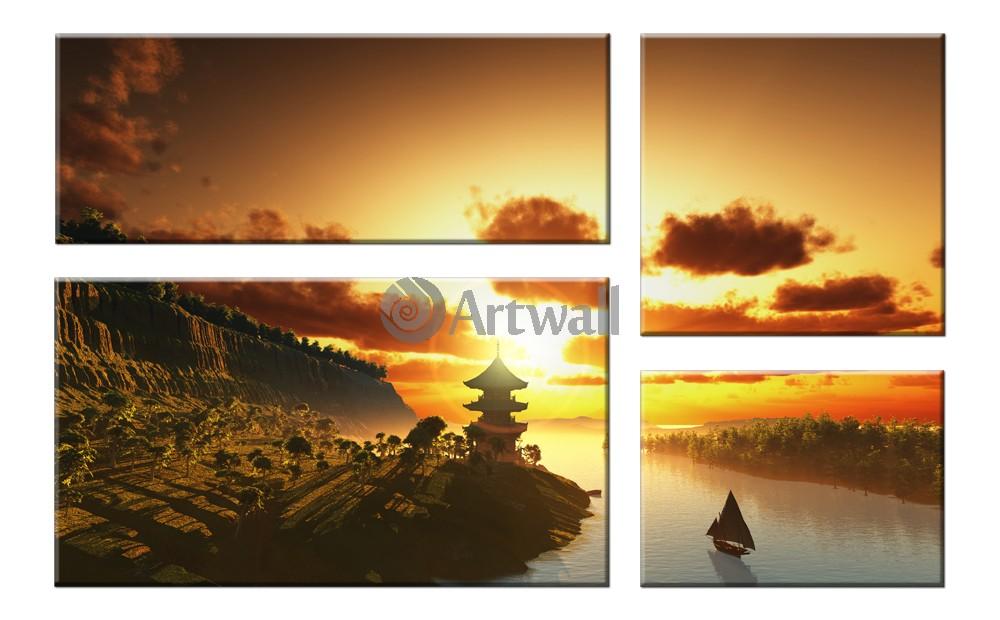 Модульная картина «Китайский пейзаж»Города<br>Модульная картина на натуральном холсте и деревянном подрамнике. Подвес в комплекте. Трехслойная надежная упаковка. Доставим в любую точку России. Вам осталось только повесить картину на стену!<br>