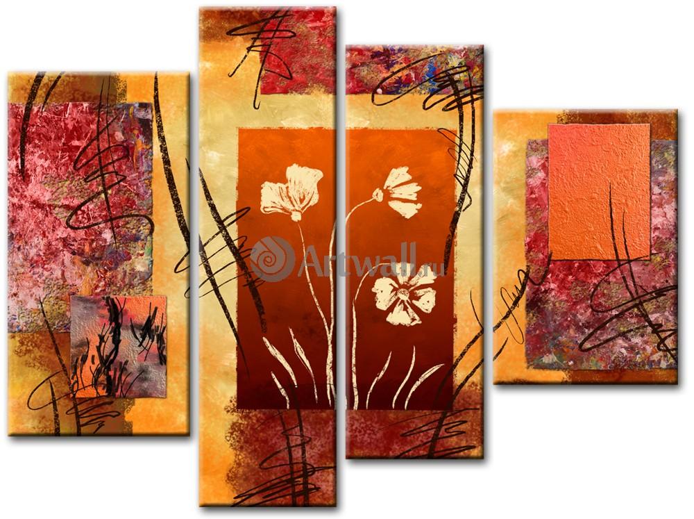 Модульная картина «Современные цветы»Абстракция<br>Модульная картина на натуральном холсте и деревянном подрамнике. Подвес в комплекте. Трехслойная надежная упаковка. Доставим в любую точку России. Вам осталось только повесить картину на стену!<br>