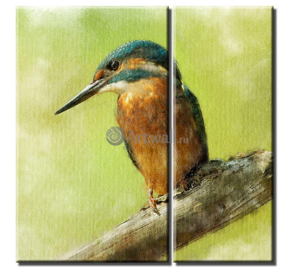 Модульная картина «Зимородок»Животные и птицы<br>Модульная картина на натуральном холсте и деревянном подрамнике. Подвес в комплекте. Трехслойная надежная упаковка. Доставим в любую точку России. Вам осталось только повесить картину на стену!<br>