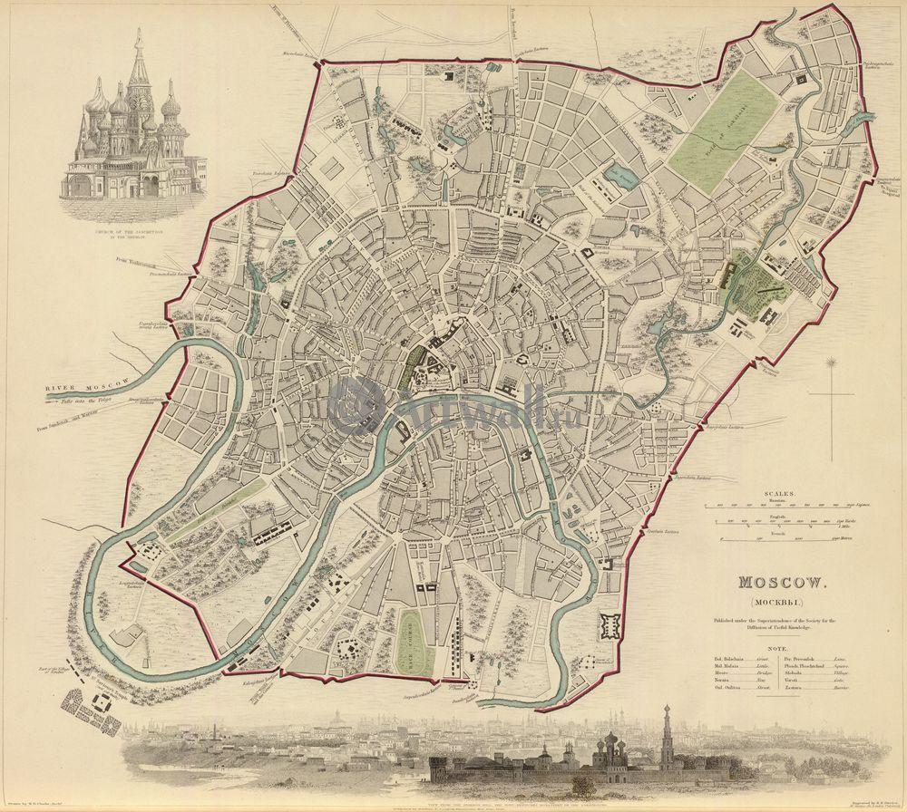 Москва - старинные карты, картина Карта Москвы 1836 годаМосква - старинные карты<br>Репродукция на холсте или бумаге. Любого нужного вам размера. В раме или без. Подвес в комплекте. Трехслойная надежная упаковка. Доставим в любую точку России. Вам осталось только повесить картину на стену!<br>