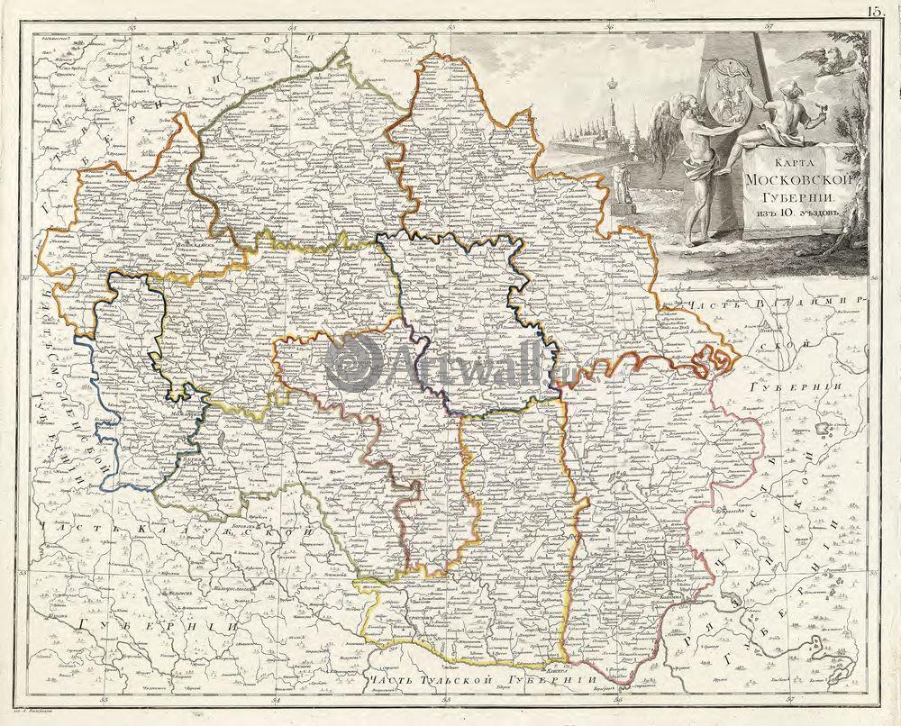 Постер Москва - старинные карты Карта Московской губернии 1800 годаМосква - старинные карты<br>Постер на холсте или бумаге. Любого нужного вам размера. В раме или без. Подвес в комплекте. Трехслойная надежная упаковка. Доставим в любую точку России. Вам осталось только повесить картину на стену!<br>