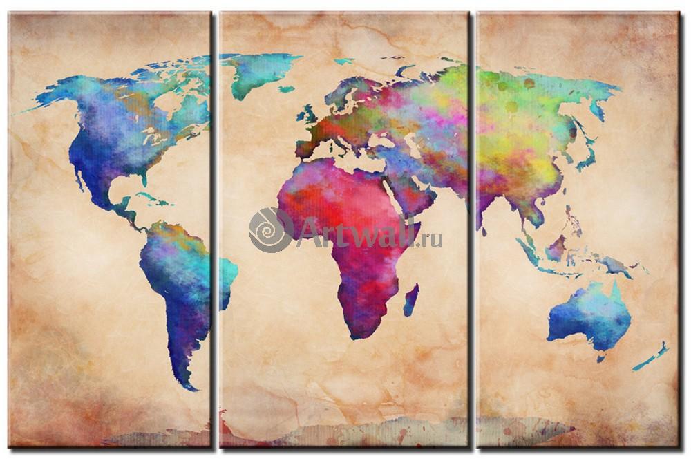 Модульная картина «Карта мира»Города<br>Модульная картина на натуральном холсте и деревянном подрамнике. Подвес в комплекте. Трехслойная надежная упаковка. Доставим в любую точку России. Вам осталось только повесить картину на стену!<br>