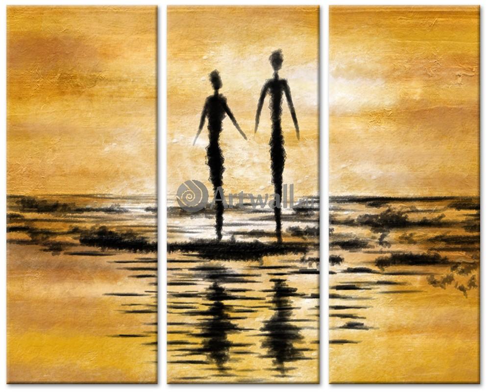 Модульная картина «Атмосфера заката»Люди<br>Модульная картина на натуральном холсте и деревянном подрамнике. Подвес в комплекте. Трехслойная надежная упаковка. Доставим в любую точку России. Вам осталось только повесить картину на стену!<br>