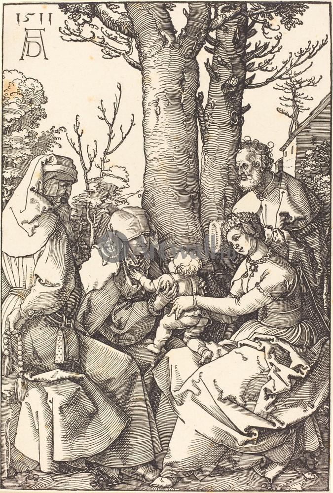 Дюрер Альбрехт, картина Святое семейство с Иоакимом и Анной под деревомДюрер Альбрехт<br>Репродукция на холсте или бумаге. Любого нужного вам размера. В раме или без. Подвес в комплекте. Трехслойная надежная упаковка. Доставим в любую точку России. Вам осталось только повесить картину на стену!<br>