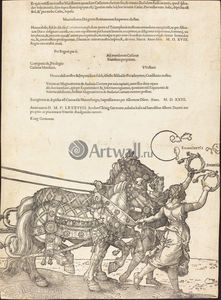Дюрер Альбрехт, картина Триумфальная колесница МаксимилианаДюрер Альбрехт<br>Репродукция на холсте или бумаге. Любого нужного вам размера. В раме или без. Подвес в комплекте. Трехслойная надежная упаковка. Доставим в любую точку России. Вам осталось только повесить картину на стену!<br>