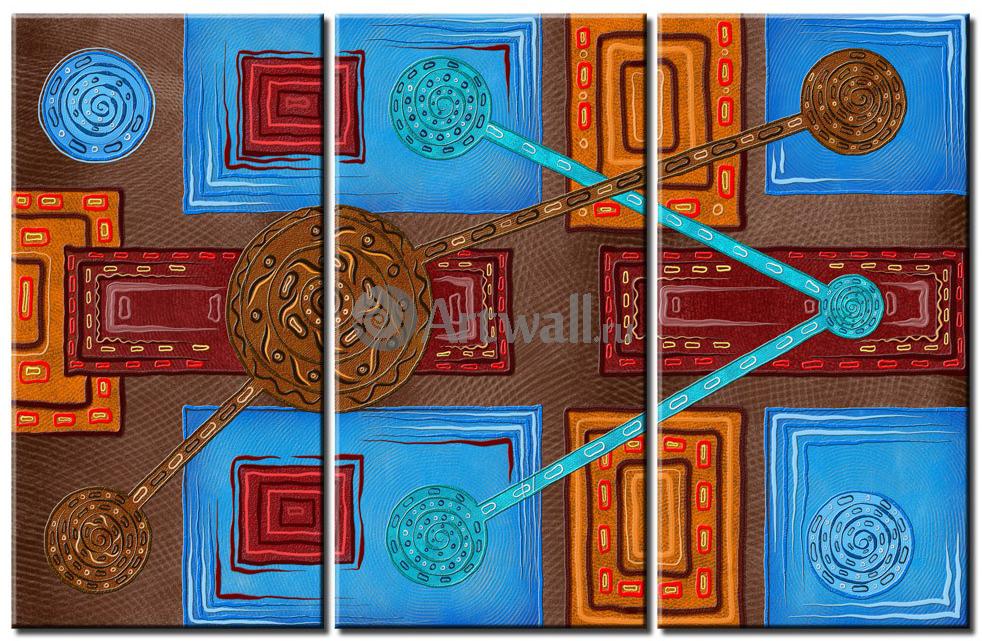 Модульная картина «Яркая геометрия»Абстракция<br>Модульная картина на натуральном холсте и деревянном подрамнике. Подвес в комплекте. Трехслойная надежная упаковка. Доставим в любую точку России. Вам осталось только повесить картину на стену!<br>