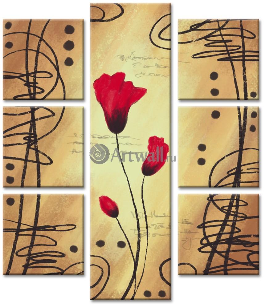Модульная картина «Поэзия маков»Цветы<br>Модульная картина на натуральном холсте и деревянном подрамнике. Подвес в комплекте. Трехслойная надежная упаковка. Доставим в любую точку России. Вам осталось только повесить картину на стену!<br>