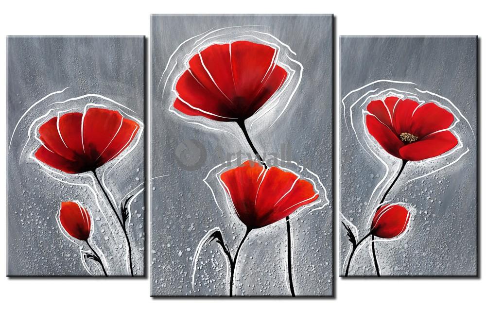 Модульная картина «Красные маки на сером»Цветы<br>Модульная картина на натуральном холсте и деревянном подрамнике. Подвес в комплекте. Трехслойная надежная упаковка. Доставим в любую точку России. Вам осталось только повесить картину на стену!<br>