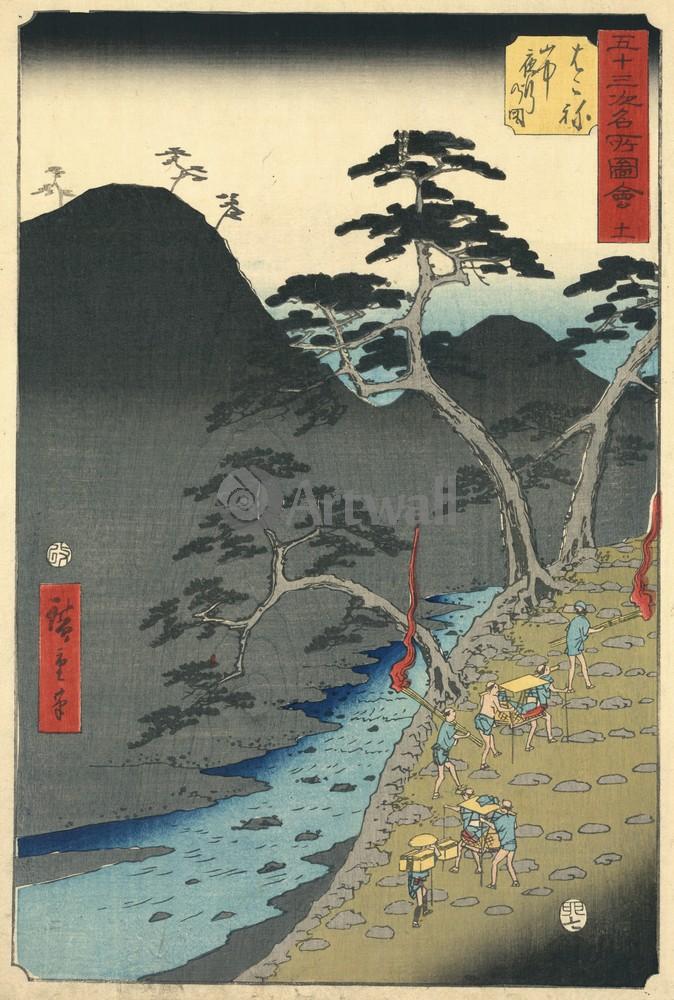 Японская гравюра Пейзаж,