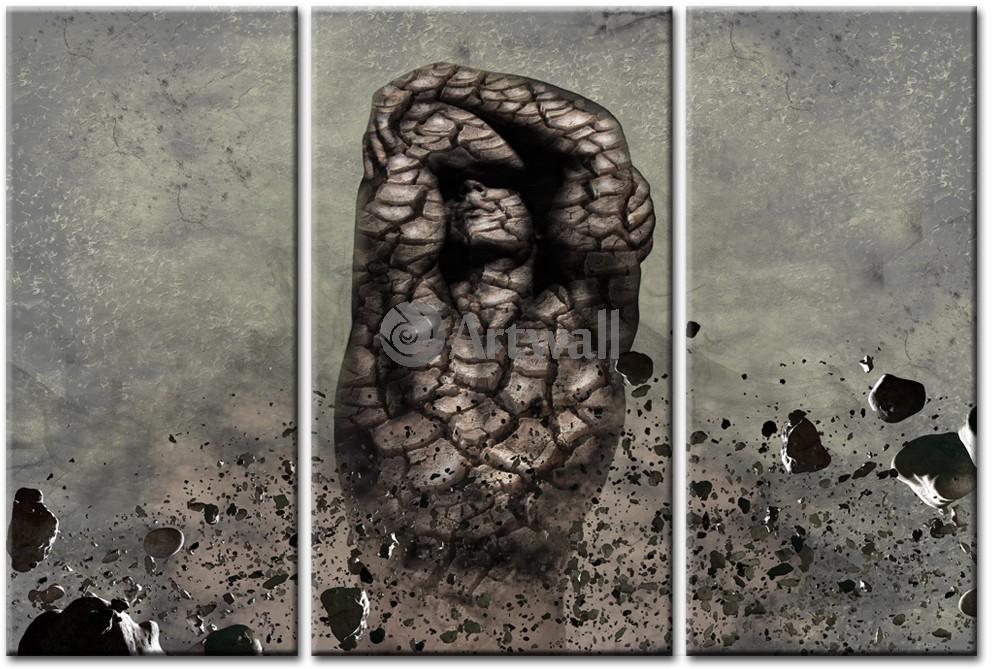 Модульная картина «Человек из камня»Люди<br>Модульная картина на натуральном холсте и деревянном подрамнике. Подвес в комплекте. Трехслойная надежная упаковка. Доставим в любую точку России. Вам осталось только повесить картину на стену!<br>