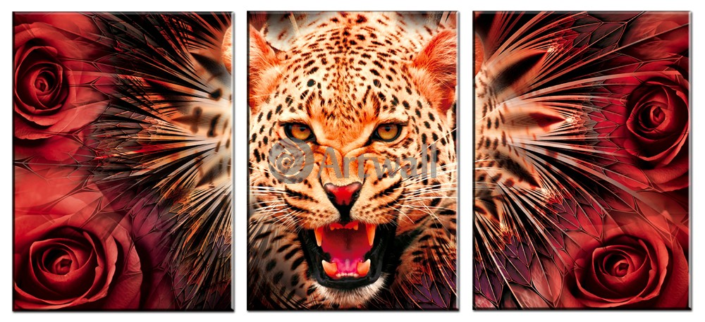 Модульная картина «Леопард и розы»Животные и птицы<br>Модульная картина на натуральном холсте и деревянном подрамнике. Подвес в комплекте. Трехслойная надежная упаковка. Доставим в любую точку России. Вам осталось только повесить картину на стену!<br>