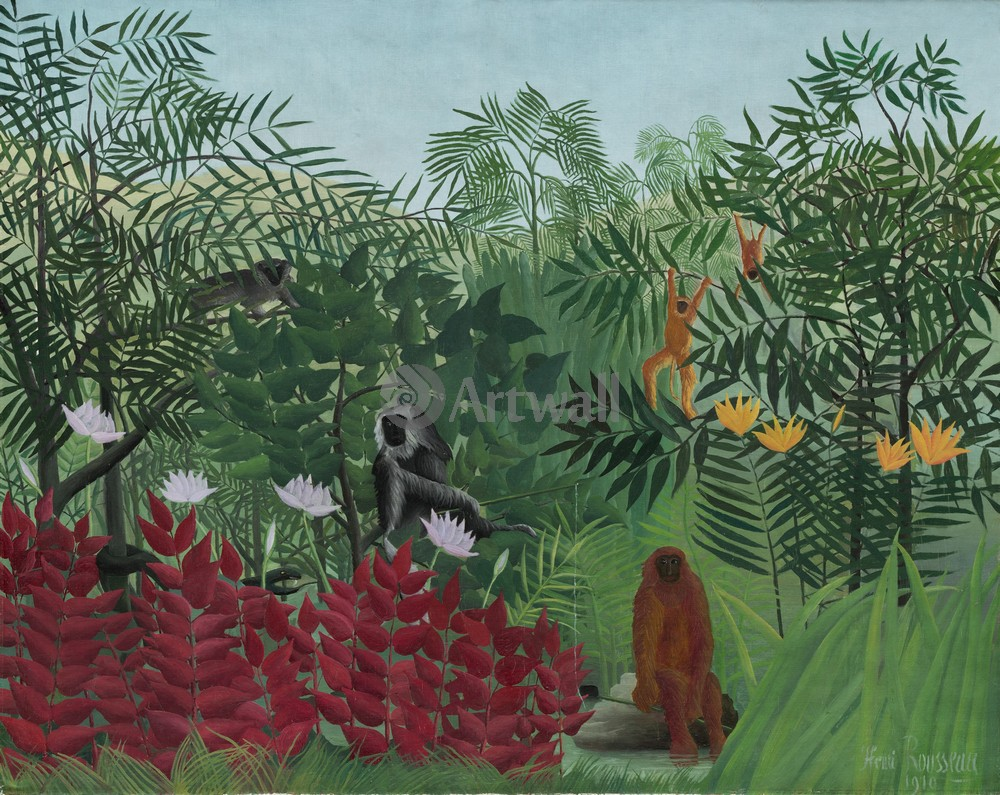 Руссо Анри, картина Тропический лес с обезьянамиРуссо Анри<br>Репродукция на холсте или бумаге. Любого нужного вам размера. В раме или без. Подвес в комплекте. Трехслойная надежная упаковка. Доставим в любую точку России. Вам осталось только повесить картину на стену!<br>