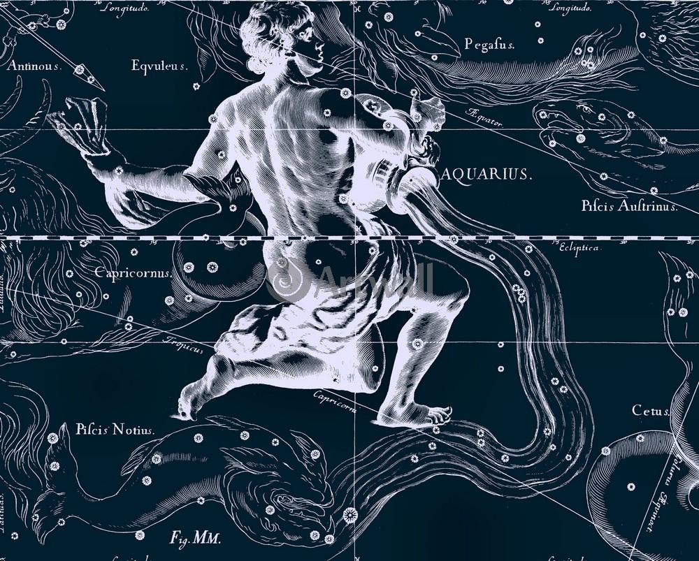 Постер Карты созвездий Aquarius - ВодолейКарты созвездий<br>Постер на холсте или бумаге. Любого нужного вам размера. В раме или без. Подвес в комплекте. Трехслойная надежная упаковка. Доставим в любую точку России. Вам осталось только повесить картину на стену!<br>
