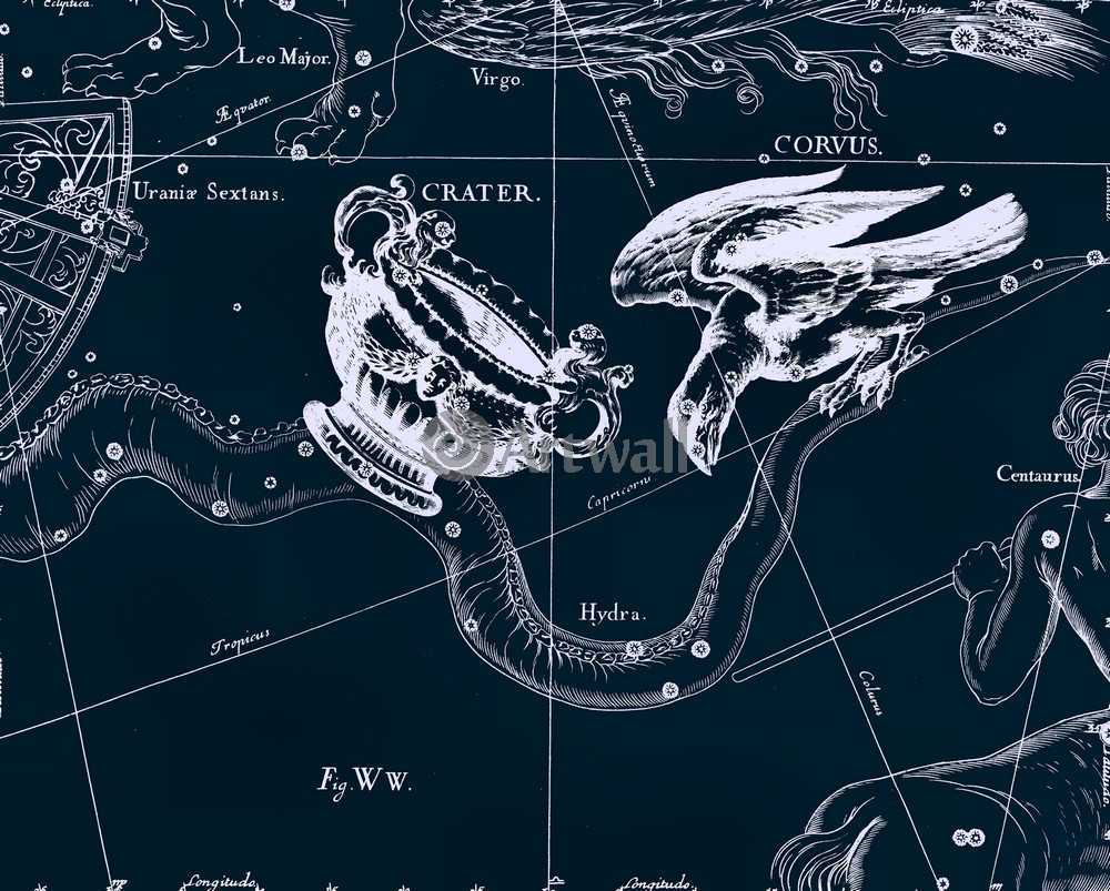 Постер Карты созвездий Crater, Corvus - Чаша, ВоронКарты созвездий<br>Постер на холсте или бумаге. Любого нужного вам размера. В раме или без. Подвес в комплекте. Трехслойная надежная упаковка. Доставим в любую точку России. Вам осталось только повесить картину на стену!<br>