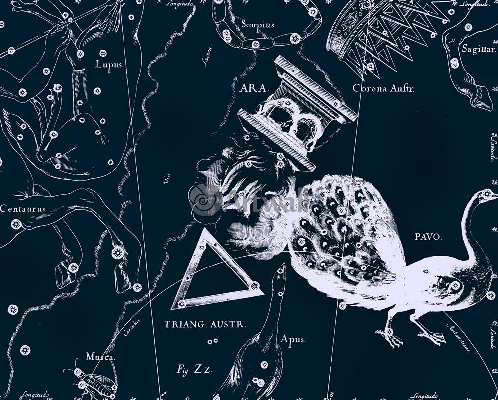 Постер Карты созвездий Pavo, Ara, Triangulum Australe - Павлин, Жертвенник, Южный ТреугольникКарты созвездий<br>Постер на холсте или бумаге. Любого нужного вам размера. В раме или без. Подвес в комплекте. Трехслойная надежная упаковка. Доставим в любую точку России. Вам осталось только повесить картину на стену!<br>