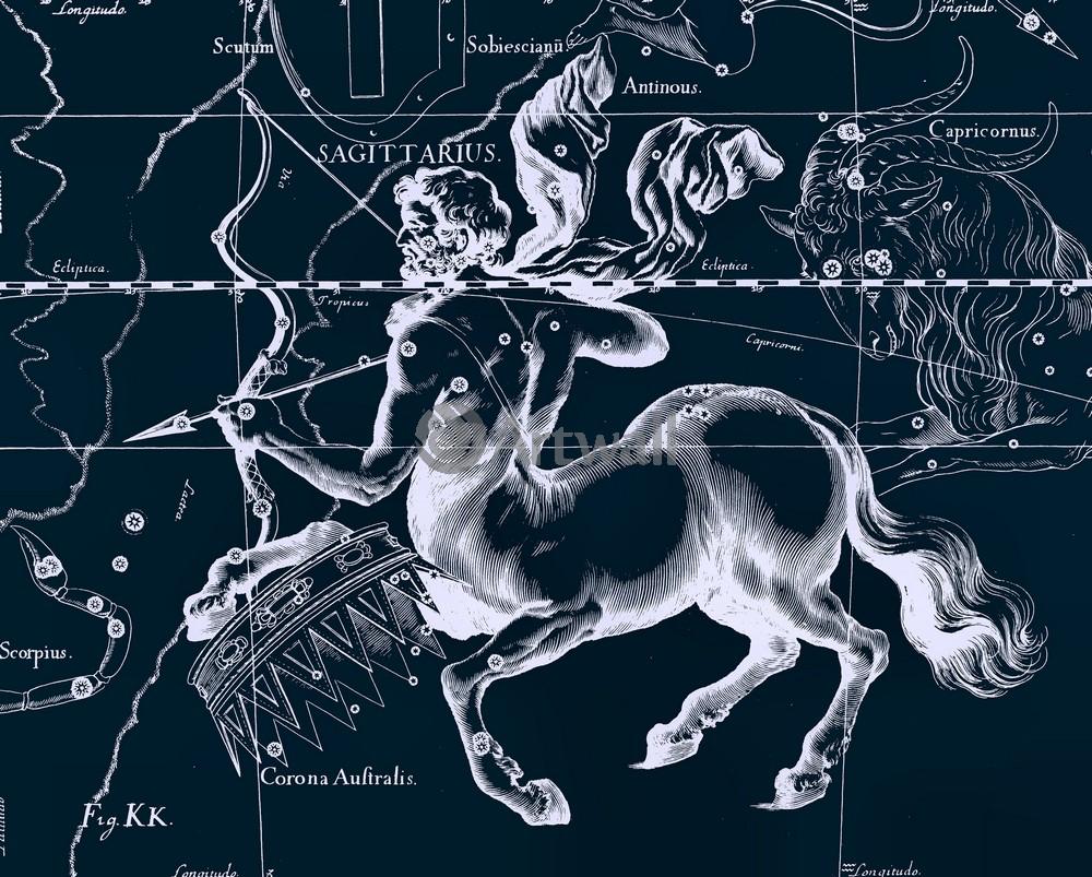 Постер Карты созвездий Sagittarius - СтрелецКарты созвездий<br>Постер на холсте или бумаге. Любого нужного вам размера. В раме или без. Подвес в комплекте. Трехслойная надежная упаковка. Доставим в любую точку России. Вам осталось только повесить картину на стену!<br>
