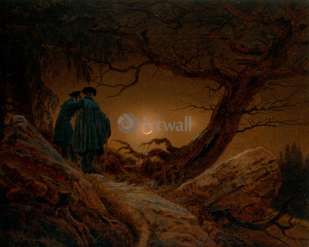 Каспар Фридрих, картина Двое мужчин, глядящие на лунуКаспар Фридрих<br>Репродукция на холсте или бумаге. Любого нужного вам размера. В раме или без. Подвес в комплекте. Трехслойная надежная упаковка. Доставим в любую точку России. Вам осталось только повесить картину на стену!<br>