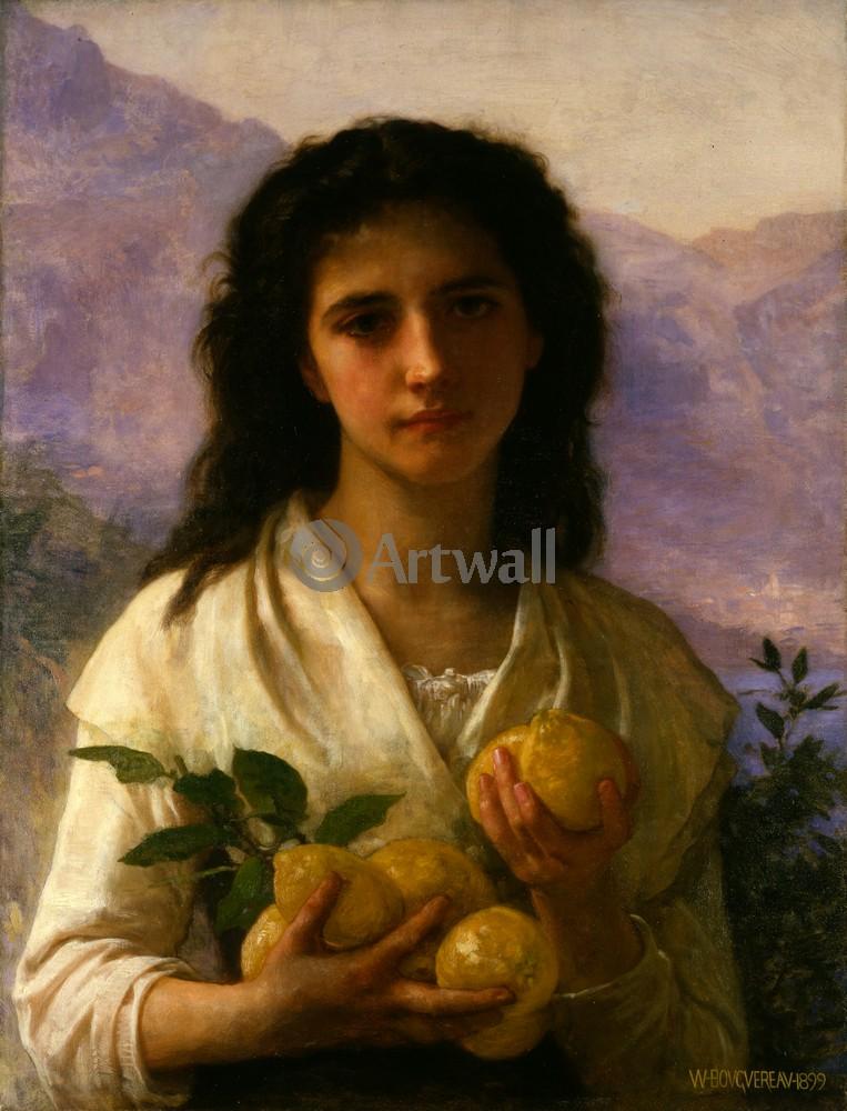 Бугро Вильям, картина Девушка с лимонамиБугро Вильям<br>Репродукция на холсте или бумаге. Любого нужного вам размера. В раме или без. Подвес в комплекте. Трехслойная надежная упаковка. Доставим в любую точку России. Вам осталось только повесить картину на стену!<br>