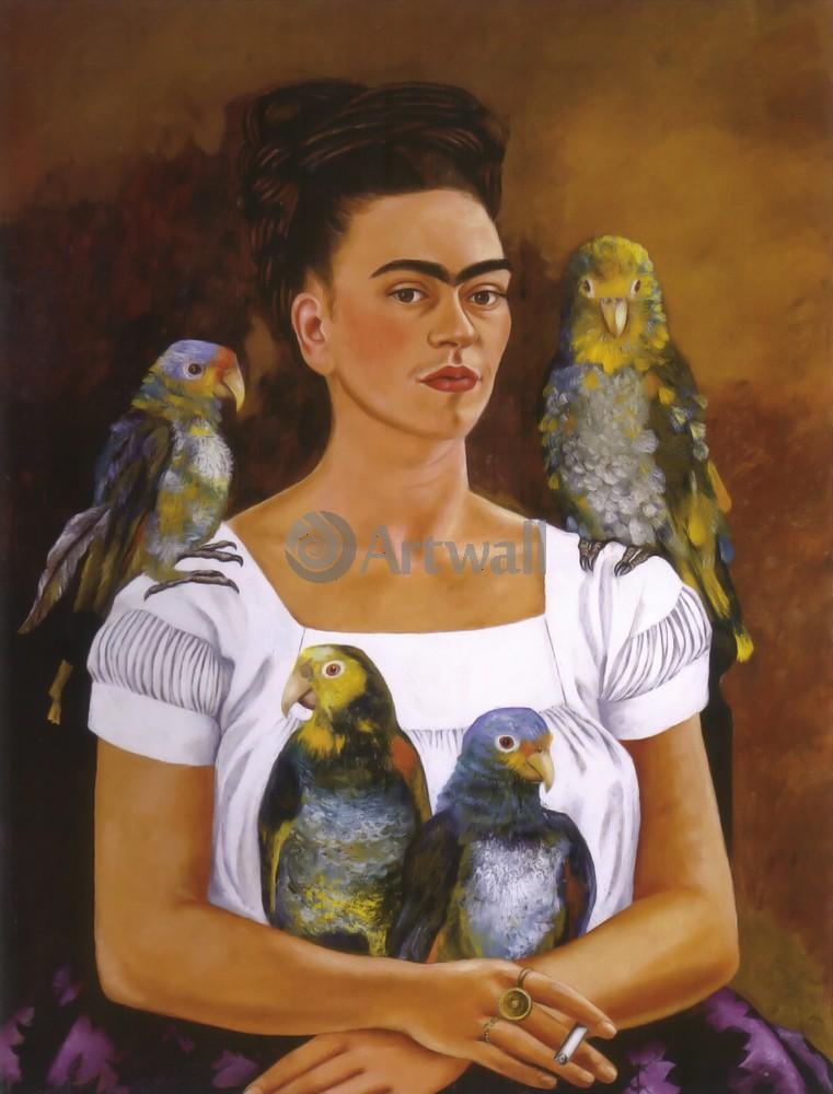 Кало Фрида, картина Автопортрет с попугаямиКало Фрида<br>Репродукция на холсте или бумаге. Любого нужного вам размера. В раме или без. Подвес в комплекте. Трехслойная надежная упаковка. Доставим в любую точку России. Вам осталось только повесить картину на стену!<br>