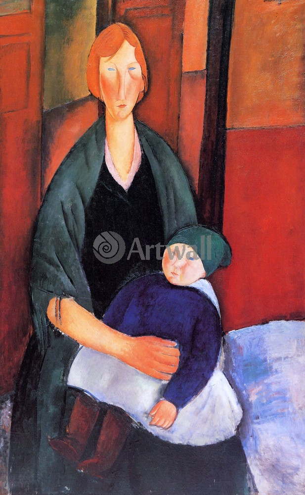 Модильяни Амадео, картина Женщина с ребенкомМодильяни Амадео<br>Репродукция на холсте или бумаге. Любого нужного вам размера. В раме или без. Подвес в комплекте. Трехслойная надежная упаковка. Доставим в любую точку России. Вам осталось только повесить картину на стену!<br>