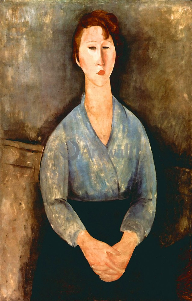 Художники, картина Портрет женщины в голубой кофте, 20x31 см, на бумагеМодильяни Амадео<br>Постер на холсте или бумаге. Любого нужного вам размера. В раме или без. Подвес в комплекте. Трехслойная надежная упаковка. Доставим в любую точку России. Вам осталось только повесить картину на стену!<br>