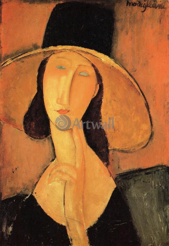 Модильяни Амадео, картина Портрет женщины в шляпеМодильяни Амадео<br>Репродукция на холсте или бумаге. Любого нужного вам размера. В раме или без. Подвес в комплекте. Трехслойная надежная упаковка. Доставим в любую точку России. Вам осталось только повесить картину на стену!<br>