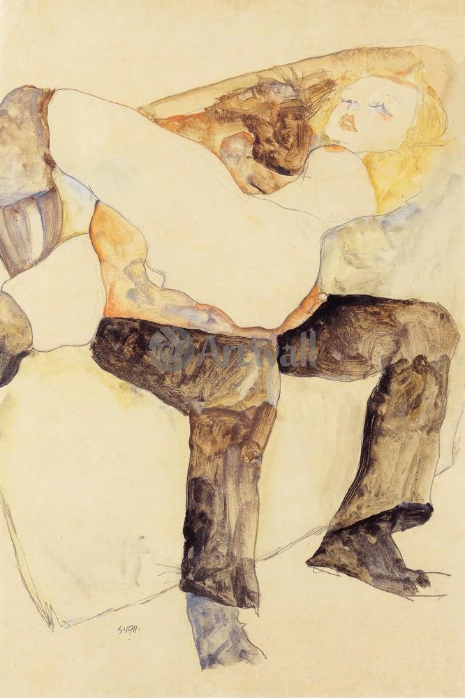 Художники, картина Мужчина, держащий женщину на коленях, 20x30 см, на бумагеШиле Эгон<br>Постер на холсте или бумаге. Любого нужного вам размера. В раме или без. Подвес в комплекте. Трехслойная надежная упаковка. Доставим в любую точку России. Вам осталось только повесить картину на стену!<br>