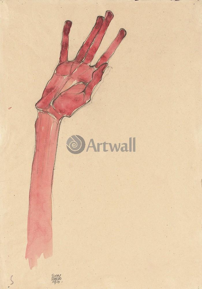 Поднятая красная рука, 20x29 см, на бумагеШиле Эгон<br>Постер на холсте или бумаге. Любого нужного вам размера. В раме или без. Подвес в комплекте. Трехслойная надежная упаковка. Доставим в любую точку России. Вам осталось только повесить картину на стену!<br>