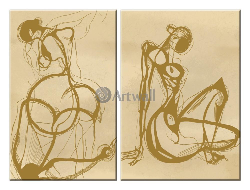 Модульная картина «Две женские фигуры»Люди<br>Модульная картина на натуральном холсте и деревянном подрамнике. Подвес в комплекте. Трехслойная надежная упаковка. Доставим в любую точку России. Вам осталось только повесить картину на стену!<br>