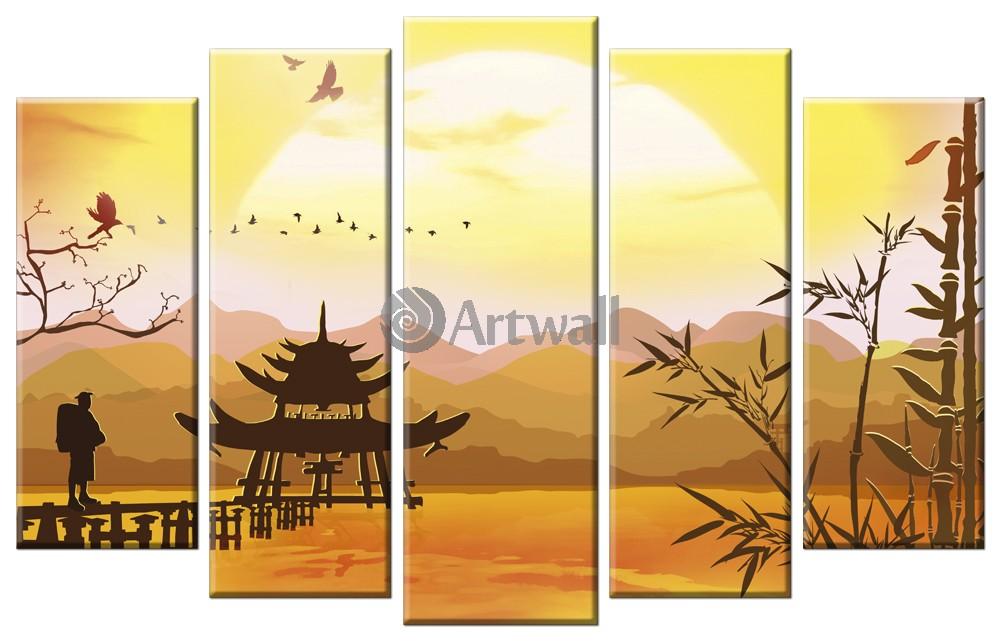 Модульная картина «Закат в Китае»Города<br>Модульная картина на натуральном холсте и деревянном подрамнике. Подвес в комплекте. Трехслойная надежная упаковка. Доставим в любую точку России. Вам осталось только повесить картину на стену!<br>