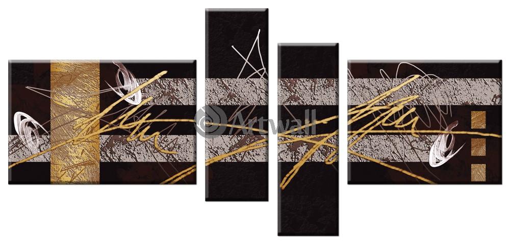 Модульная картина «Золотые проблески»Абстракция<br>Модульная картина на натуральном холсте и деревянном подрамнике. Подвес в комплекте. Трехслойная надежная упаковка. Доставим в любую точку России. Вам осталось только повесить картину на стену!<br>