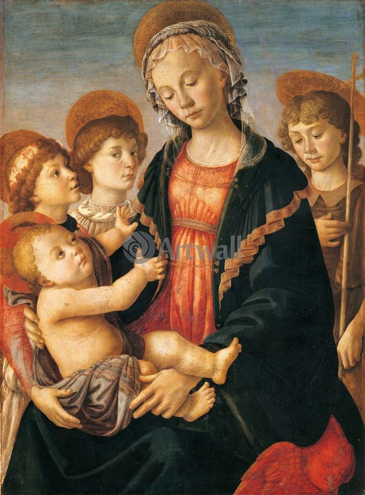 Боттичелли Сандро, картина Мадонна с младенцем, двумя ангелами и юным Иоанном КрестителемБоттичелли Сандро<br>Репродукция на холсте или бумаге. Любого нужного вам размера. В раме или без. Подвес в комплекте. Трехслойная надежная упаковка. Доставим в любую точку России. Вам осталось только повесить картину на стену!<br>