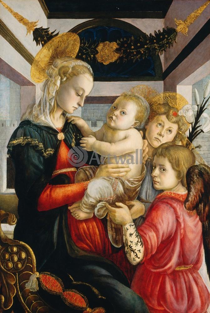 Боттичелли Сандро, картина Мадонна с младенцем и два ангелаБоттичелли Сандро<br>Репродукция на холсте или бумаге. Любого нужного вам размера. В раме или без. Подвес в комплекте. Трехслойная надежная упаковка. Доставим в любую точку России. Вам осталось только повесить картину на стену!<br>