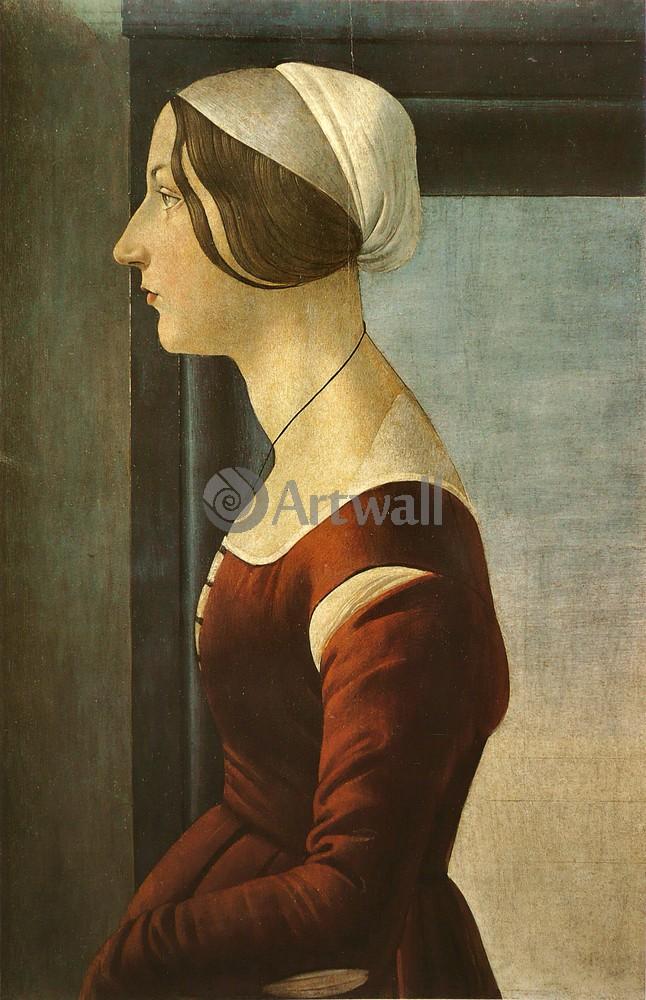 Боттичелли Сандро, картина Портрет молодой женщиныБоттичелли Сандро<br>Репродукция на холсте или бумаге. Любого нужного вам размера. В раме или без. Подвес в комплекте. Трехслойная надежная упаковка. Доставим в любую точку России. Вам осталось только повесить картину на стену!<br>