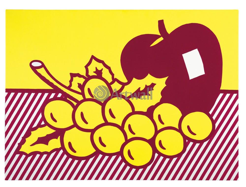 Лихтенштейн Рой, картина Натюрморт с яблоком и виноградомЛихтенштейн Рой<br>Репродукция на холсте или бумаге. Любого нужного вам размера. В раме или без. Подвес в комплекте. Трехслойная надежная упаковка. Доставим в любую точку России. Вам осталось только повесить картину на стену!<br>