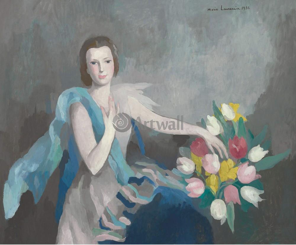 Лорансен Мари, картина Женщина с тюльпанамиЛорансен Мари<br>Репродукция на холсте или бумаге. Любого нужного вам размера. В раме или без. Подвес в комплекте. Трехслойная надежная упаковка. Доставим в любую точку России. Вам осталось только повесить картину на стену!<br>