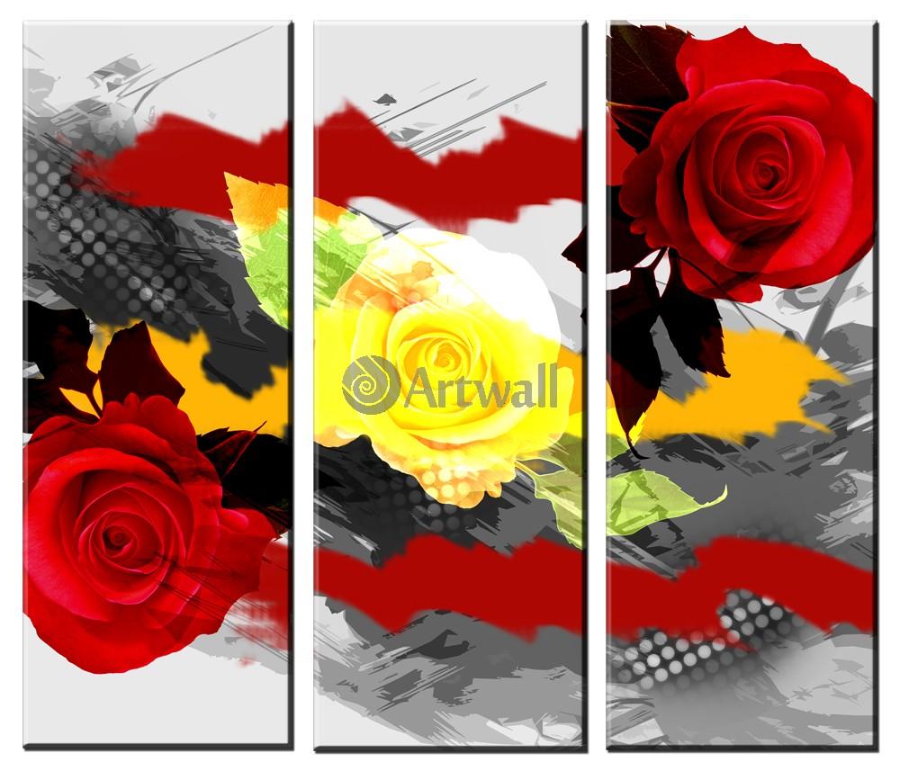 Модульная картина «Ретро розы»Цветы<br>Модульная картина на натуральном холсте и деревянном подрамнике. Подвес в комплекте. Трехслойная надежная упаковка. Доставим в любую точку России. Вам осталось только повесить картину на стену!<br>